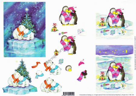 Arctic Christmas Polar Bears & Penguins Cuddling 3d Decoupage Craft Sheet